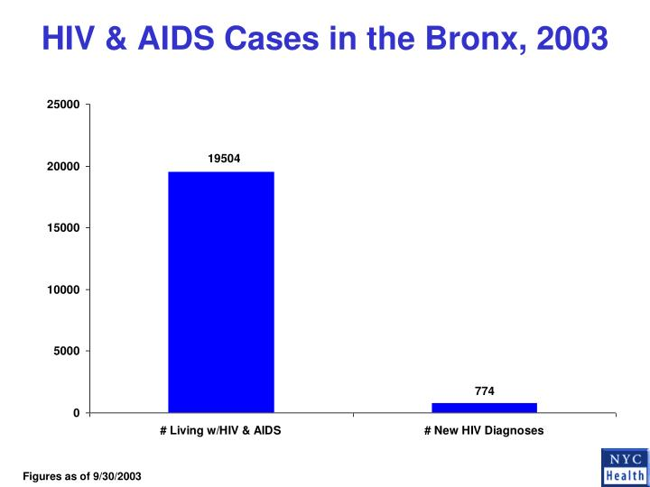 HIV & AIDS Cases in the Bronx, 2003