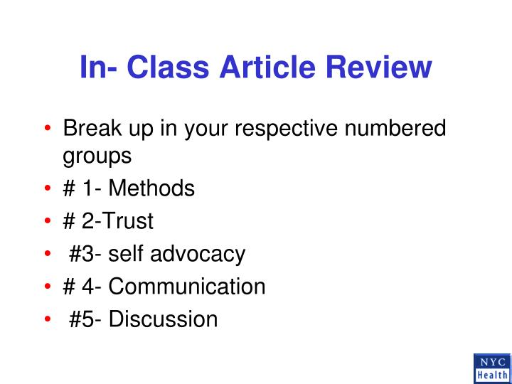 In class article review