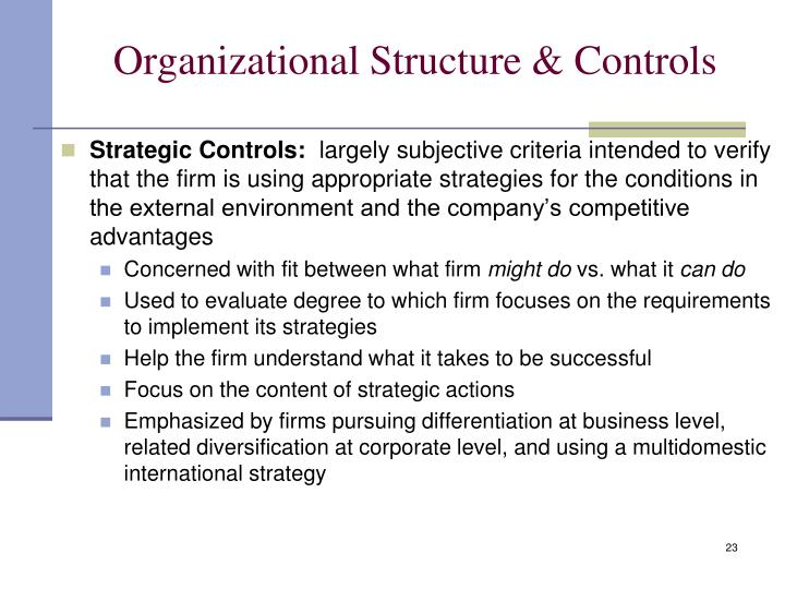 Organizational Structure & Controls