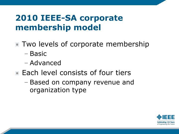 2010 IEEE-SA corporate membership model