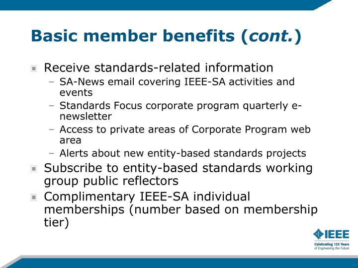 Basic member benefits (