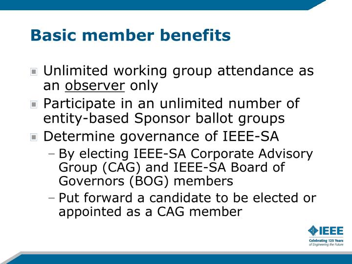 Basic member benefits