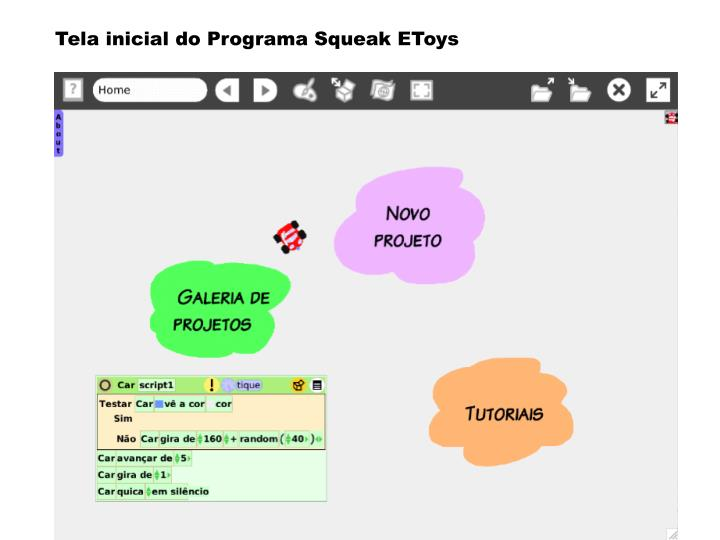 Tela inicial do Programa Squeak EToys