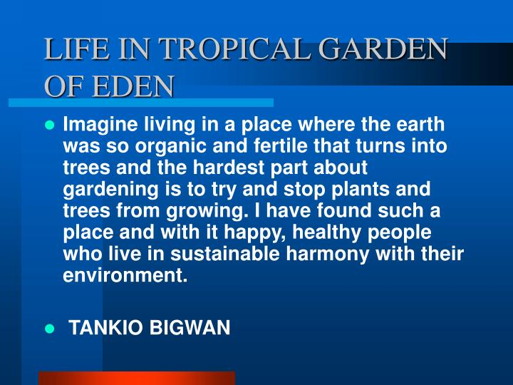 LIFE IN TROPICAL GARDEN
