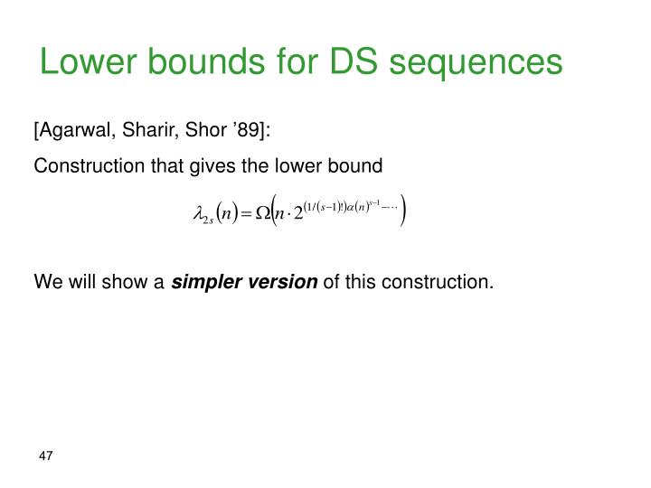 Lower bounds for DS sequences