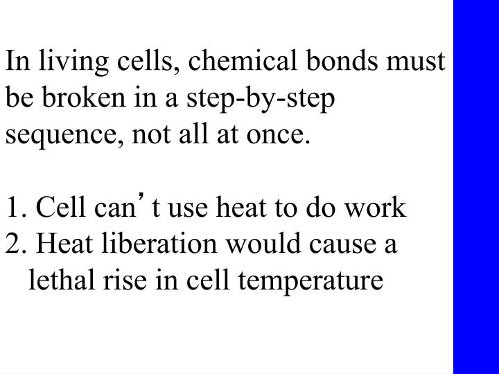 In living cells, chemical bonds must be broken in a step-by-step sequence, not all at once.