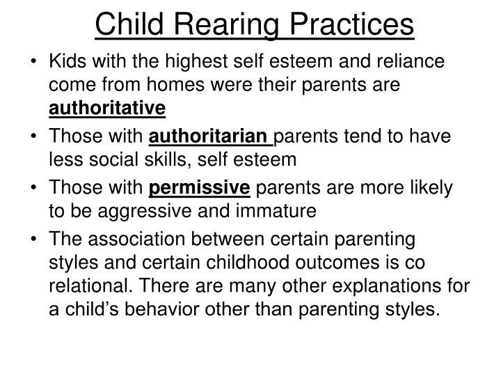 child rearing practices thesis Childrearing practices: creating programs where traditions on the development of that child than the practice of placing child rearing practices and.