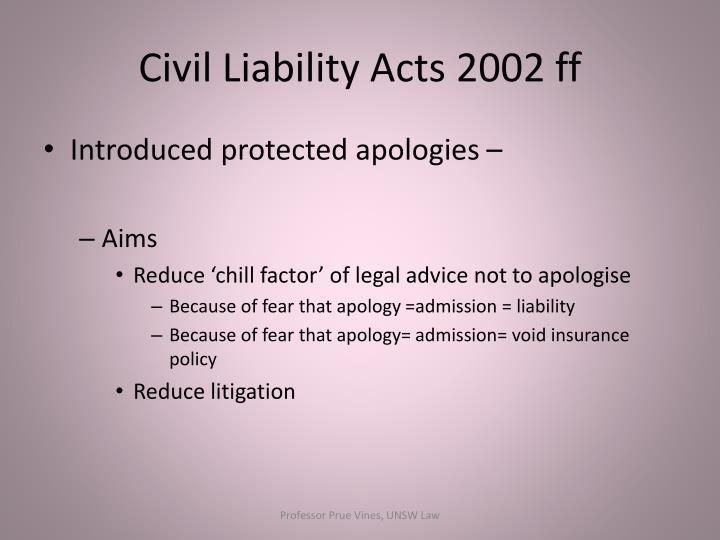 Civil Liability Acts 2002 ff