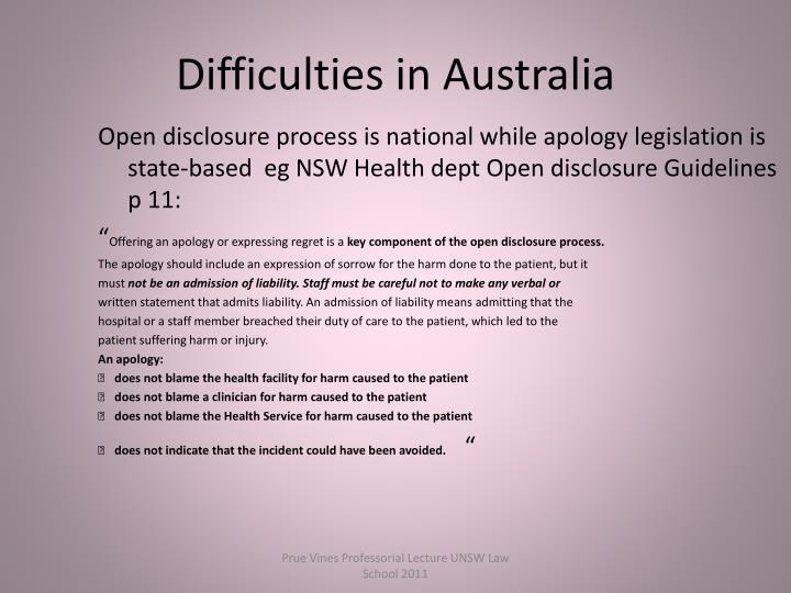 Difficulties in Australia