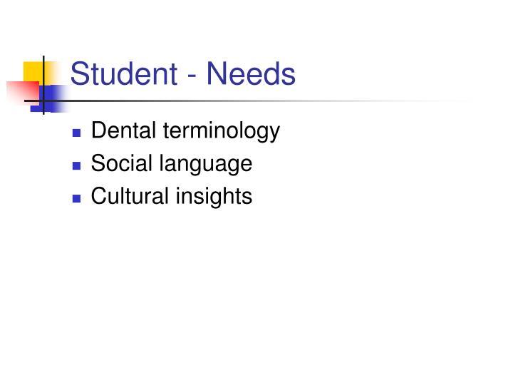 Student - Needs