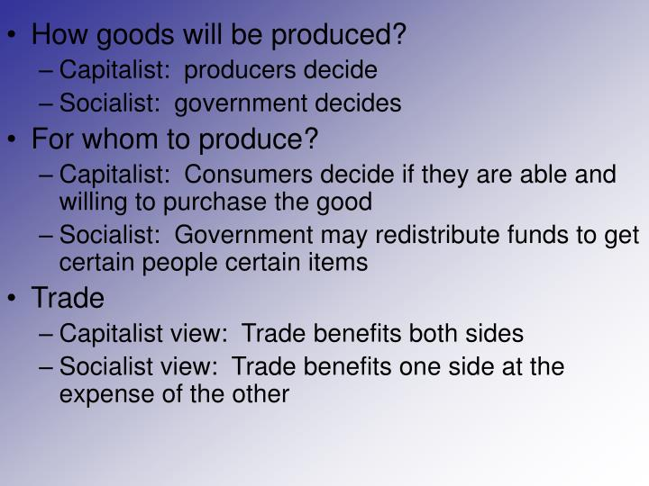 How goods will be produced?