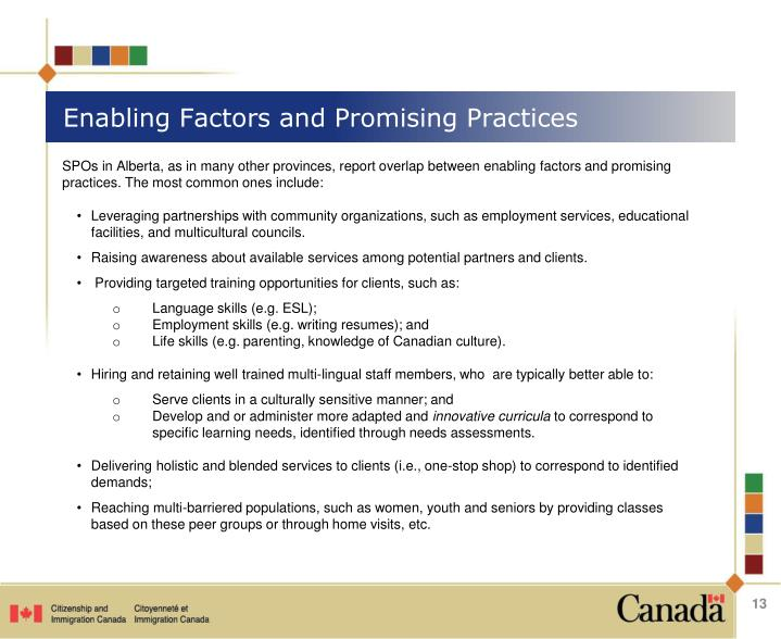 Enabling Factors and Promising Practices