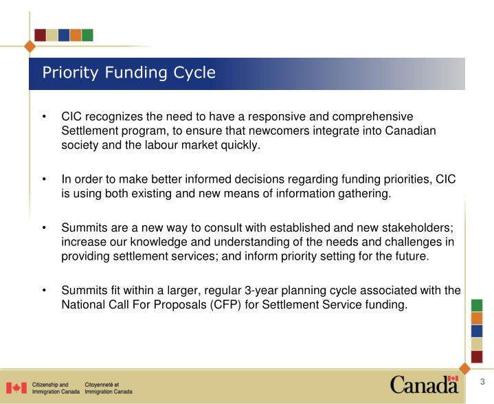 Priority funding cycle