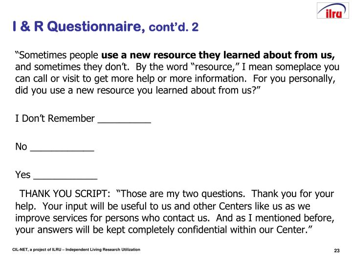 I & R Questionnaire,