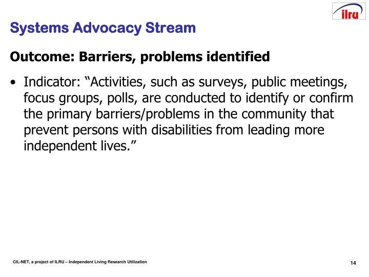 Systems Advocacy Stream