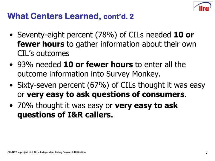 What Centers Learned,