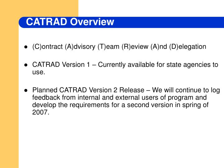 CATRAD Overview