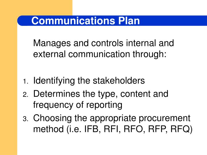 Manages and controls internal and external communication through: