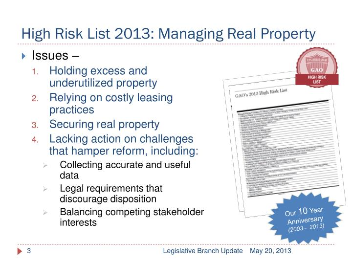 High risk list 2013 managing real property
