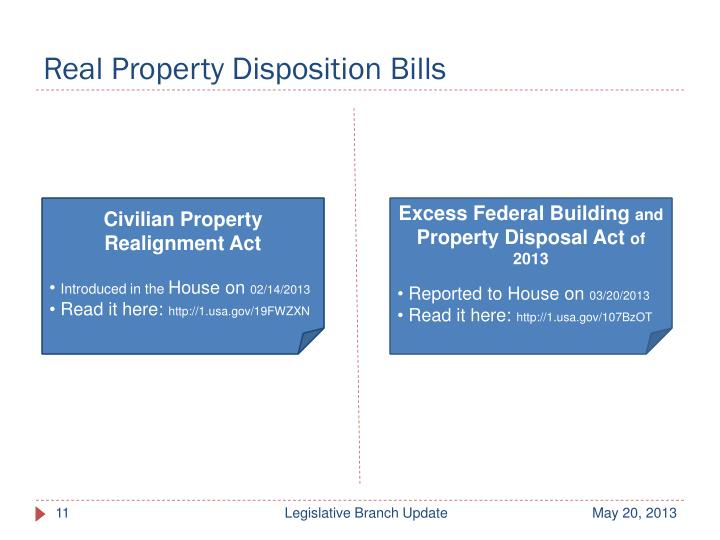 Real Property Disposition Bills