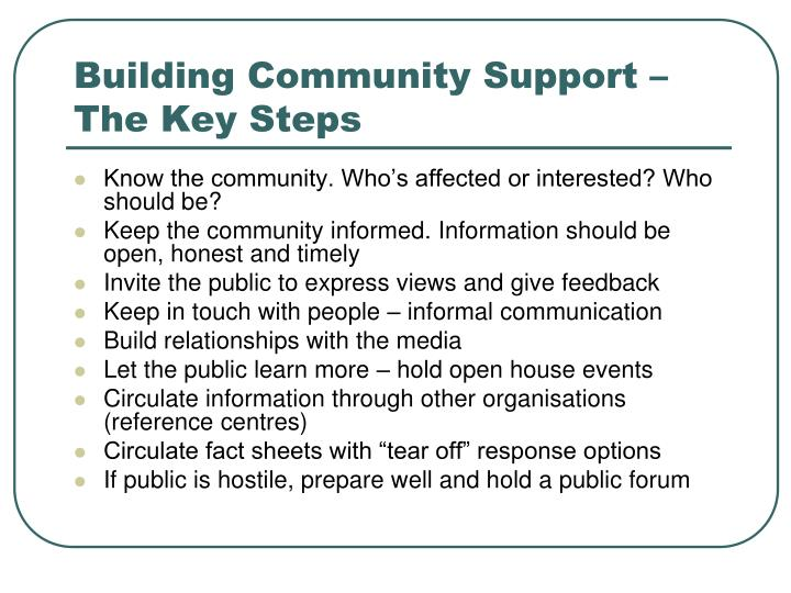 Building Community Support – The Key Steps