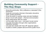 building community support the key steps