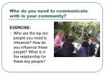 who do you need to communicate with in your community