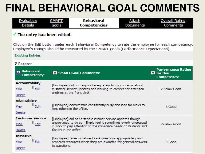 FINAL BEHAVIORAL GOAL COMMENTS