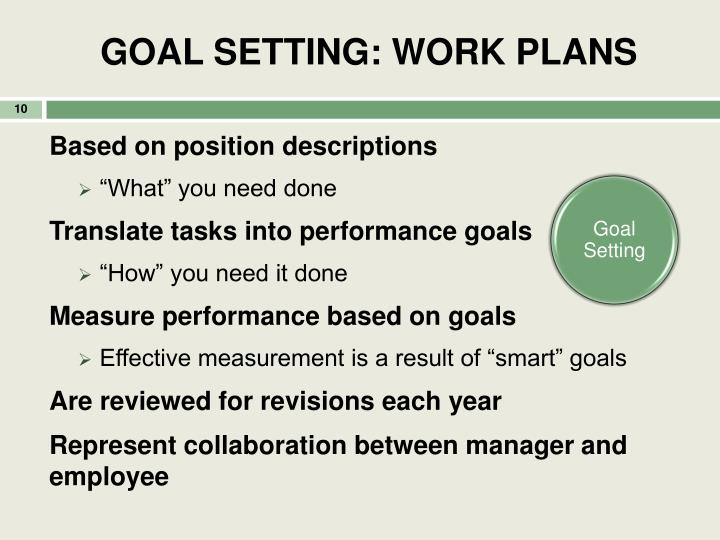 GOAL SETTING: WORK PLANS