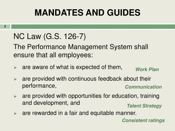 MANDATES AND GUIDES