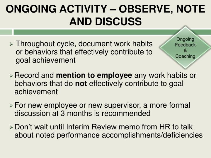 ONGOING ACTIVITY – OBSERVE, NOTE AND DISCUSS