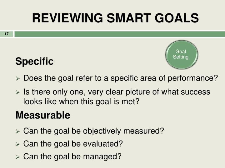 REVIEWING SMART GOALS