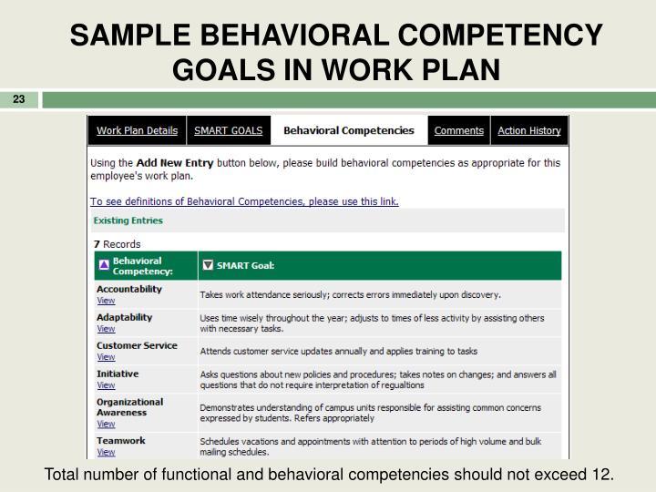 SAMPLE BEHAVIORAL COMPETENCY GOALS IN WORK PLAN