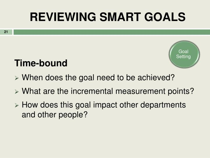 REVIEWING SMART GOALS