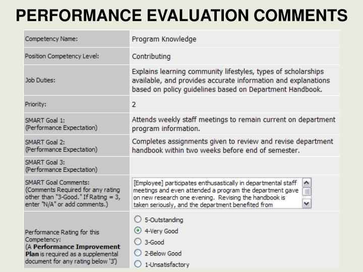 PERFORMANCE EVALUATION COMMENTS