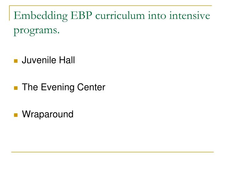 Embedding EBP curriculum into intensive programs.