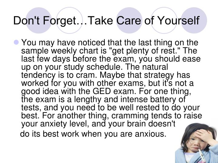 Don't Forget…Take Care of Yourself
