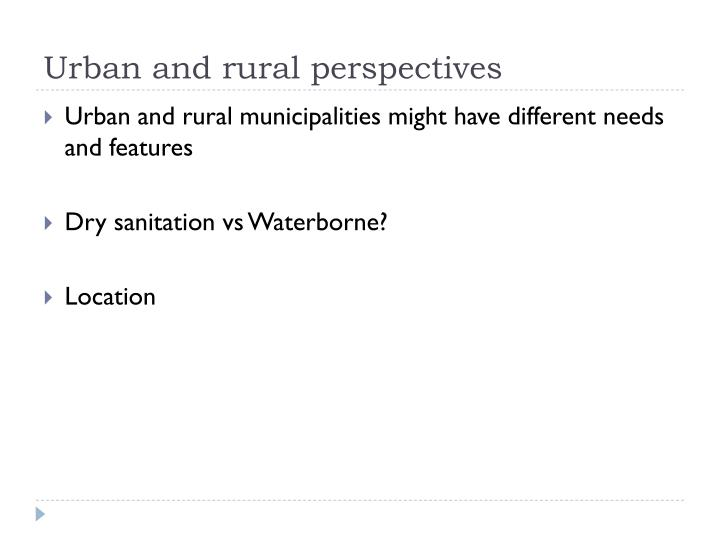 Urban and rural perspectives