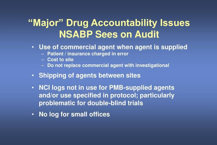 """Major"" Drug Accountability Issues"