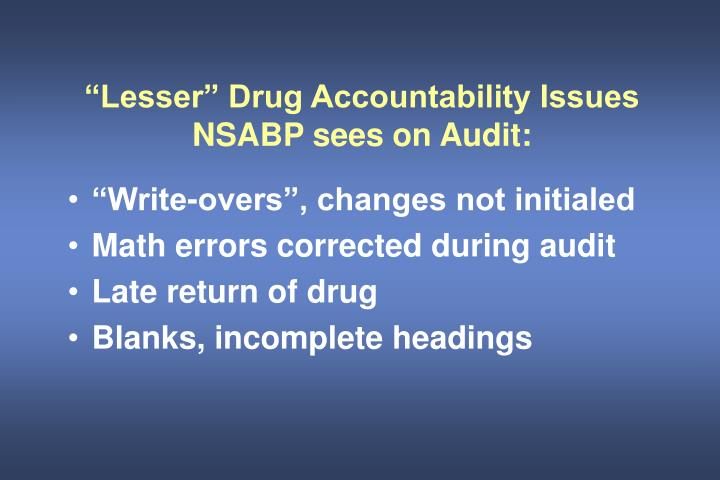 """""""Lesser"""" Drug Accountability Issues NSABP sees on Audit:"""