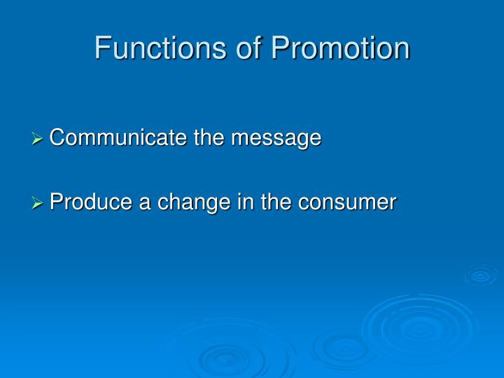 Functions of Promotion