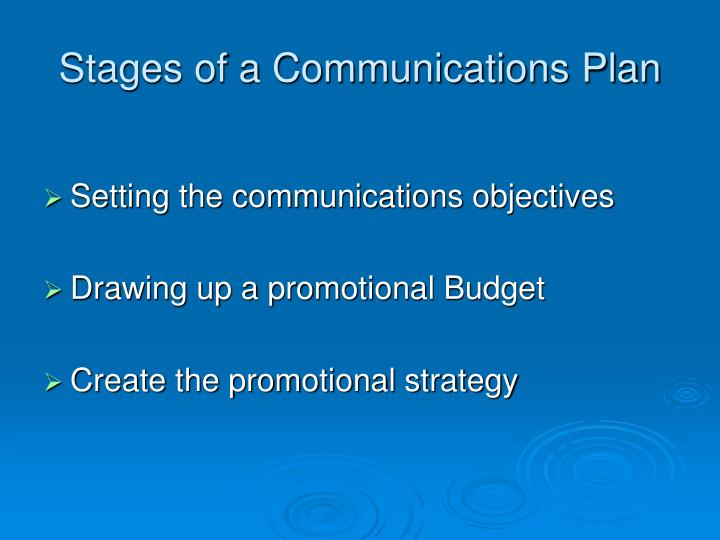Stages of a Communications Plan