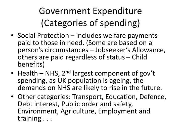 Government expenditure categories of spending