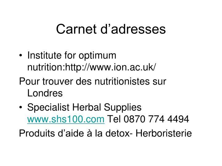 Carnet d'adresses