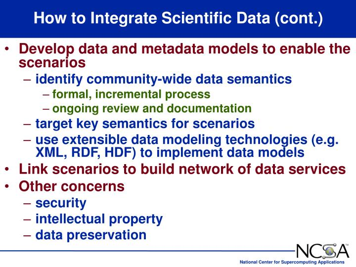 How to Integrate Scientific Data (cont.)