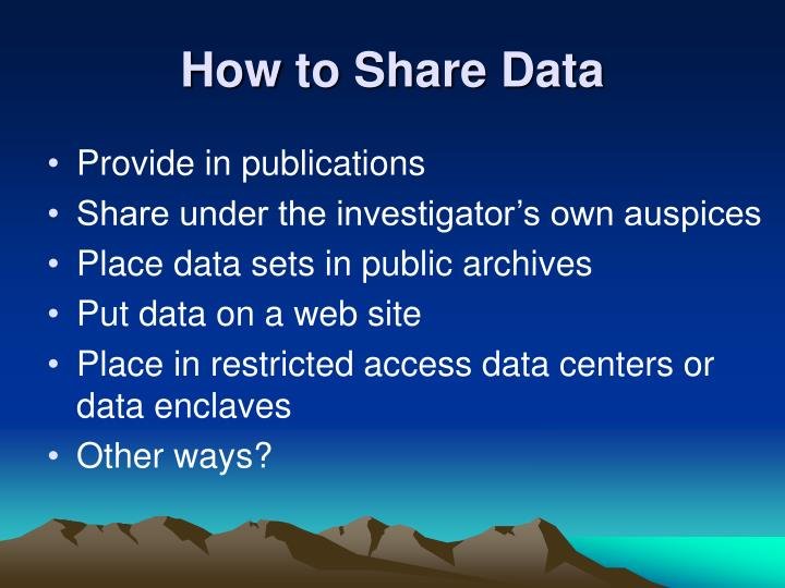 How to Share Data