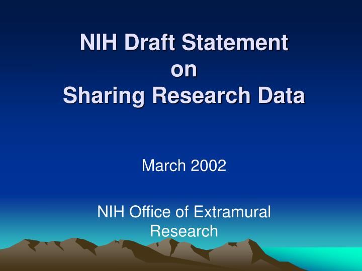 NIH Draft Statement