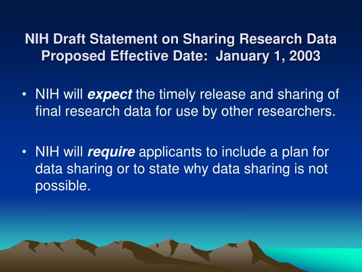 NIH Draft Statement on Sharing Research Data