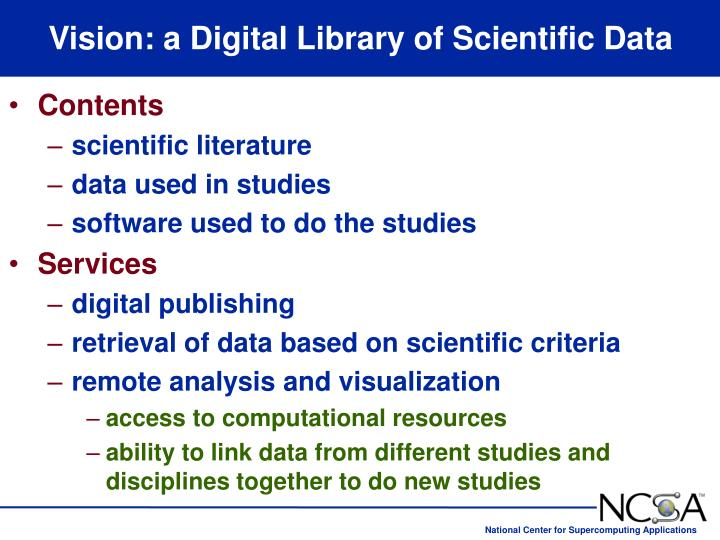 Vision: a Digital Library of Scientific Data