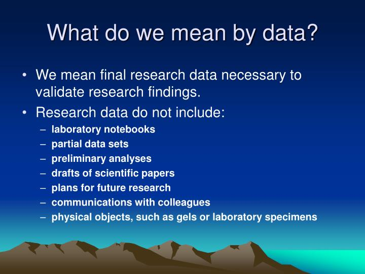 What do we mean by data?